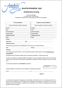Bulletin d'adhésion 2018-2019